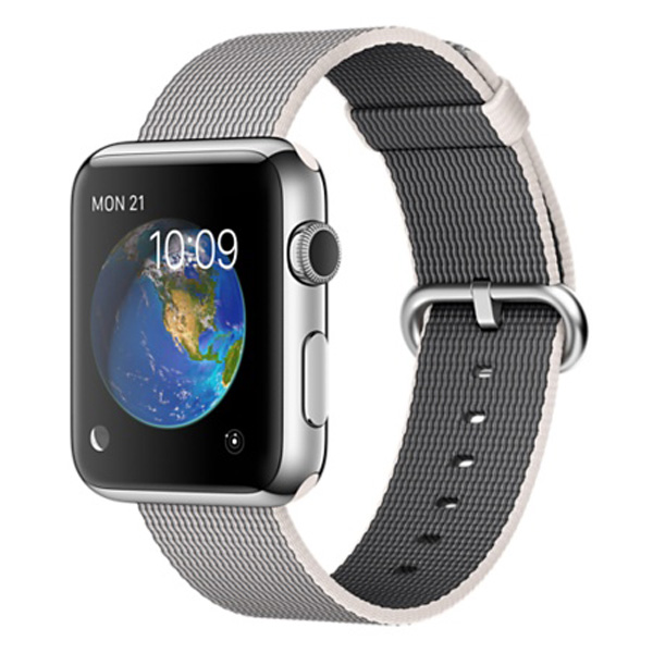 Apple Watch Stainless Steel Case with Pearl Woven Nylon 42mm، ساعت اپل بدنه استیل بند نایلون صدفی 42 میلیمتر
