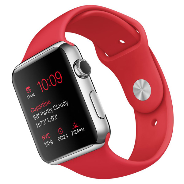 Apple Watch Stainless Steel Case with Red Sport Band 42mm، ساعت اپل بدنه استیل بند اسپرت قرمز 42 میلیمتر