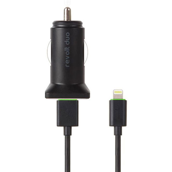 Moshi Revolt Duo Car Charger with Lighting Cable‎، شارژر اتومبیل موشی Revolt Duo به همراه کابل