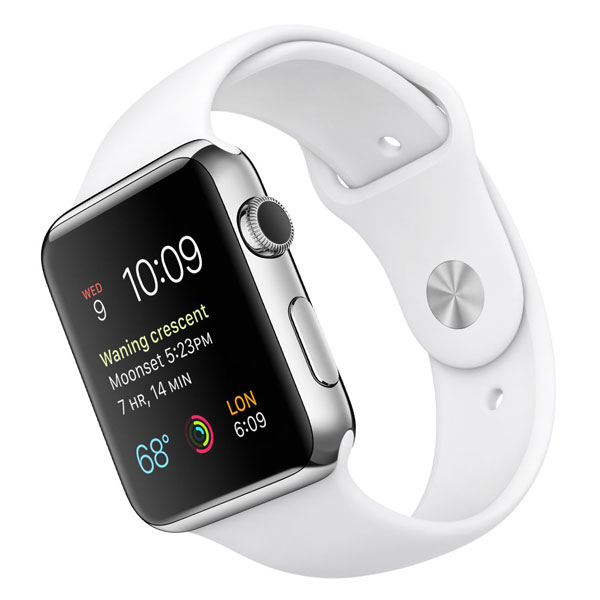 Apple Watch Watch Stainless Steel Case with White Sport Band 42mm، ساعت اپل بدنه استیل بند اسپرت سفید 42 میلیمتر
