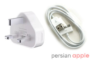iPhone4 USB Power Adapter & Cable، کابل USB و آداپتور برق آیفون 4