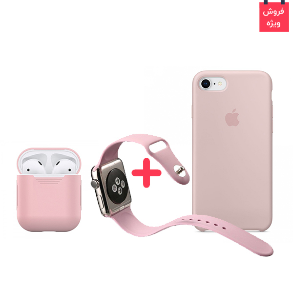 iPhone 8 Case + AirPod Case + Apple Watch Band Silicone Pink Set، قاب آیفون 8 + کاور ایرپاد + بند اپل واچ سیلیکونی ست صورتی
