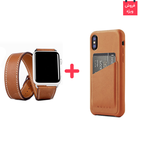 iPhone X Case Mujjo Leather Wallet + Apple Watch Band Rock Leather، قاب چرمی آیفون ایکس موجو + بند چرمی اپل واچ راک اسپیس