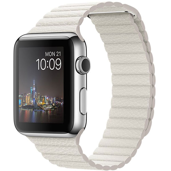 Apple Watch Stainless Steel Case with White Leather loop Band 42mm، ساعت اپل بدنه استیل بند سفید چرم لوپ 42 میلیمتر