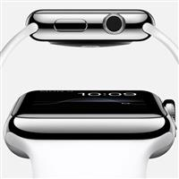 Apple Watch 38mm Stainless Steel Case with White Sport Band ﴿ اپل واچ 38 میلیمتر بدنه استیل بند اسپرت سفید ﴾