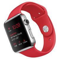 Apple Watch 42mm Stainless Steel Case with Red Sport Band، اپل واچ 42 میلیمتر بدنه استیل بند اسپرت قرمز