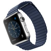 Apple Watch 42mm Stainless Steel Case Midnight Blue Leather loop، اپل واچ 42 میلیمتر بدنه استیل بند آبی تیره چرم لوپ