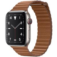 Apple Watch Series 5 Edition Titanium Case with Saddle Brown Leather Loop 44mm، ساعت اپل سری 5 ادیشن بدنه تیتانیوم و بند چرمی لوپ قهوه ای 44 میلیمتر Saddle Brown