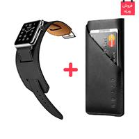 iPhone Bag Leather Mujjo + Apple Watch Band Leather Rock، کیف چرمی آیفون موجو + بند چرمی اپل واچ راک اسپیس