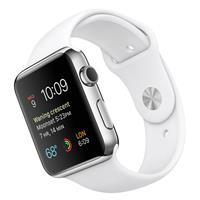 Apple Watch 42mm Stainless Steel Case with White Sport Band، اپل واچ 42 میلیمتر بدنه استیل بند اسپرت سفید