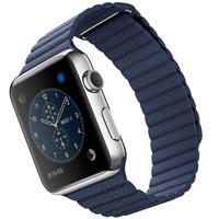 Apple Watch Watch Stainless Steel Case Bright Blue Leather loop 42mm، ساعت اپل بدنه استیل بند آبی چرم لوپ 42 میلیمتر