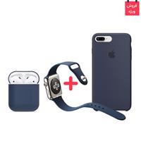 iPhone 8 Plus Case + AirPod Case + Apple Watch Band Midnght Blue Set، قاب آیفون ایکس + کاور ایرپاد + بند اپل واچ سیلیکونی ست سرمه ای
