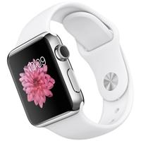 Apple Watch 38mm Stainless Steel Case with White Sport Band، اپل واچ 38 میلیمتر بدنه استیل بند اسپرت سفید