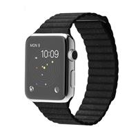Apple Watch Watch Stainless Steel Case with Black Leather loop Band 42mm، ساعت اپل بدنه استیل بند مشکی چرم لوپ 42 میلیمتر
