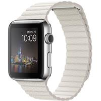 Apple Watch Watch Stainless Steel Case with White Leather loop Band 42mm، ساعت اپل بدنه استیل بند سفید چرم لوپ 42 میلیمتر